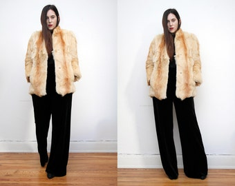 Vintage Real Fox Fur Real Leather AMAZING Fur Coat