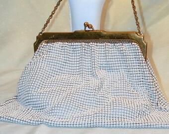Whiting & Davis Vintage White Enamel Mesh Bag