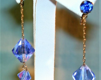 Vintage Blue Crystal Drop Earrings