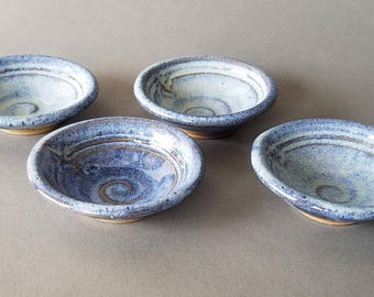 Set of 4 Condiment Dishes Sauce Dipping Bowls Sushi Butter Cream Denim Blue Swirl