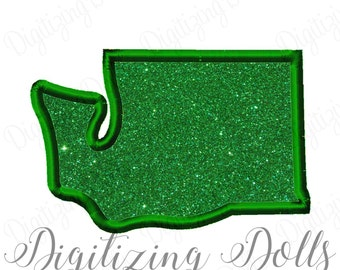 Washington State Applique Machine Embroidery Design The Evergreen State 4x4 5x7 6x10 INSTANT DOWNLOAD