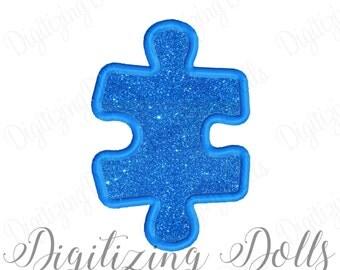 Puzzle Piece Applique 2 Machine Embroidery Design 4x4 5x7 6x10 autism awareness INSTANT DOWNLOAD