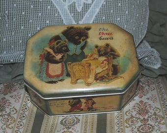 Antique TIN BOX The Three BEARS Cote d'Or