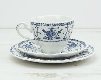 Vintage Johnson Brother Teacup and Saucer Trio set - blue bird indies afternoon tea kitchenware candleholder
