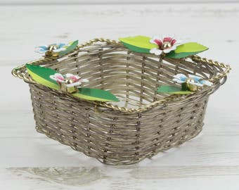 Vintage Metal Dish - Basket Bowl French Wicker Weave Woven Decor Display Wire Flower