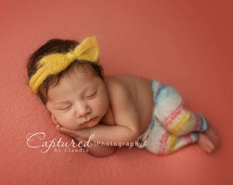 Leighton Heritage Newborn Apparel Baby Girl Soft Leggie Pants Photography Posing Photo Prop Infant Girly Inspired Knit Leggings Colorful