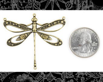 Antique Brass Vintage Dragonfly Pendant with Cut-Out Wings and Four Rings, One * AB-P107