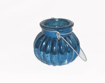 Mercury Glass Handmade Blown Glass Hanging Votive Candle Holder