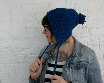 Slouchy Bonnet Hat - Slouchy Earflap Beanie - Cobalt Baggy Hat
