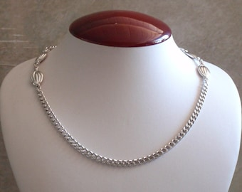 Monet Silver Tone Necklace Heavy Flat Melon Beads Curb Chain 55 Inch Vintage 081715DU
