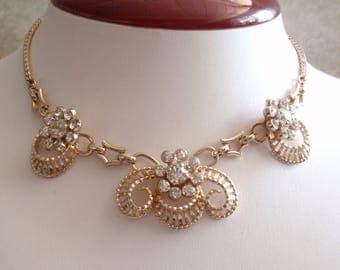 Barclay Rhinestone Necklace Choker Gold Tone Wedding Bridal Vintage V0689
