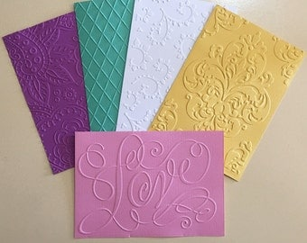 EMBOSSED CARDSTOCK 41/2 x 61/2 inches 5 pack Mixed Sheets 4