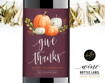 Thanksgiving Wine Label, Holiday Wine Label, Personalized Wine Label, Thanksgiving Hostess Gift, Thanksgiving Wine, Wine Labels 3.5x5 PLUM