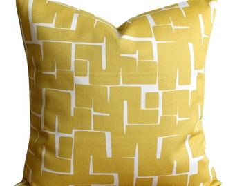 Contemporary pillow cover, Mustard Pillow Sham, Mustard cushion cover, Modern Pillowcase, throw pillow cover - Labyrinth Mustard