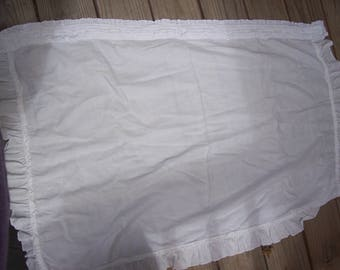 Vintage White Linen Curtains with Ruffled Rod Pocket two curtains