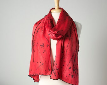 hand dyed and printed big silk wrap stole scarf in soft red and black with compass flower pods