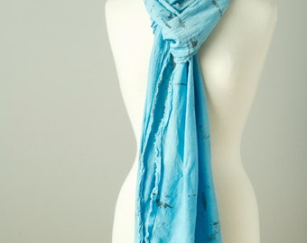 very long light airy island paradise blue hand dyed textural silk rayon scarf with raw edges