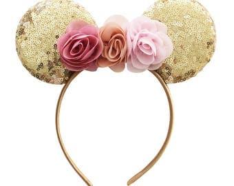 Minnie Ear Headband - Sequin Ear Headband - Mouse Ear Headband - Infant Headband - Toddler Headband - Mouse Ears- Vintage Flower Headband