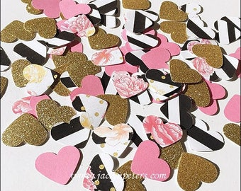 Bridal Shower Table Decoration, Wedding Hearts, Party Confetti, Birthday, Florals, Black And White Stripes, Pink And Gold Glitter 100 Pieces