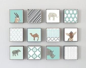 moroccan nursery safari nursery wall art, boho nursery, twelve set of art blocks- safari decor, nursery geometric decor- redtilestudio