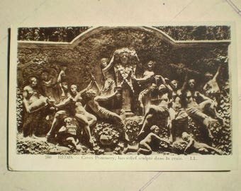 Reims - Early 1900s - Antique French Postcard - Caves Pommery - Sculpture - Dionysus