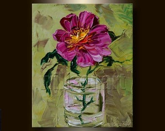 Modern Flower Oil Painting Textured Palette Knife Contemporary Floral Original Canvas Art 8X10 by Willson Lau