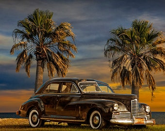Vintage Classic Automobile with Palm Trees at Sunrise in Texas by the Gulf of Mexico No.05355 a Fine Art Car Landscape Photograph