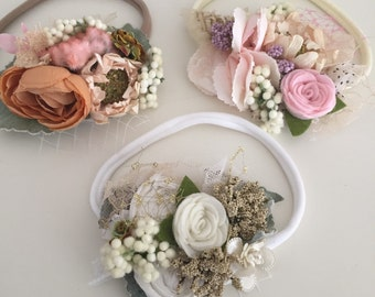 Boho baby flower headband flower crown cozette couture