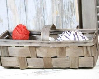 Antique Basket Oblong Slat Woven Thin Wood Center Handle Weathered Prairie Farm Chic Fixer Upper Home Decor