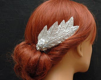 Vintage Silver Leaf Hair Comb, Wedding Hair Comb, Bridal Hair Accessories, Flower Bohemian Hair Piece, Prom Accessories, Grecian Goddess