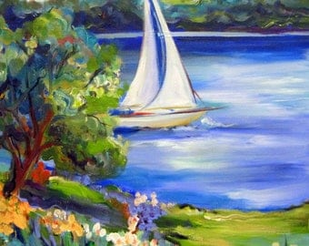 Sailing Original painting 16 x 20 Sailboat Art by Elaine Cory  canvas art
