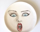 Holiday Sale Porcelain Face Plate -Surprise face, Blue eyes,  Fine China Platter or Ring Dish with Hand Painted Surreal Faces