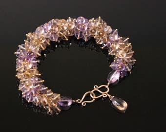 AAA Ametrine Bracelet, Gemstone Cluster, Yellow and Purple, 14k Gold Filled, February November Birthstone, Amethyst Citrine, Luxury