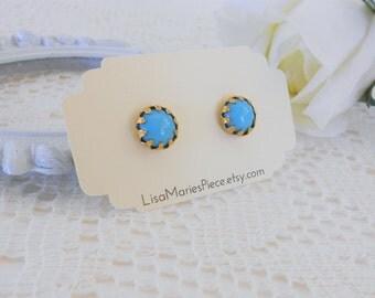 Turquoise Stud Earrings, Blue Studs, Round Stud Earrings, Blue Stud Earrings, Vintage Cabochon Studs, Crown Studs, Estate Jewelry