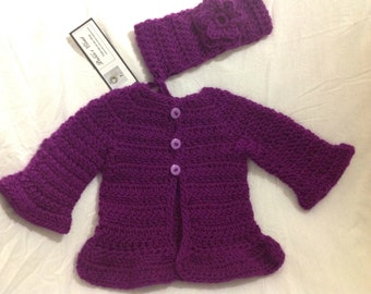 Plum Purple deep lavender sweater cardigan 0 to six months headband with flower set