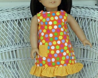 Lots of Dots  Ruffled Dress- Handmade To Fit 18 Inch Dolls Like American Girl Doll