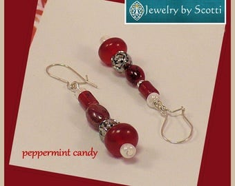 Red and White Sterling Silver Dangle Earrings, Red Jewelry, Colorful Beaded Earrings, Sterling Silver Earrings, Matching Necklace Available