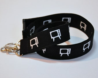 Lanyard fabric black and white tv lover Lanyard  ID Badge Holder -  Teacher lanyard  travel agent  professor  - Breakaway safety optional