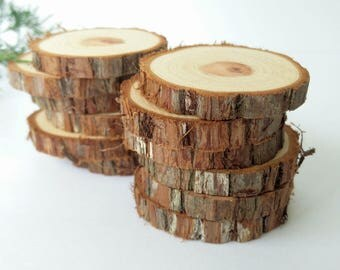 Craft Rounds, 12 Rustic Cedar Branch Craft Rounds,  Rustic Cedar Craft Rounds