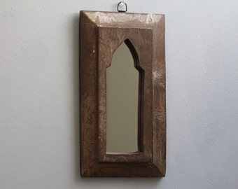 Large Moroccan Mirror Vintage Wood Framed Mirror Reclaimed Wood Wall Art Neutral Brown Wall Mirror Moroccan Decor Turkish