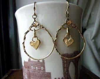 Artisan Heart Hoop Style with Heart Charm Earrings in Gold Bronze, Hoops, Handcrafted, Dangles, Chandelier, Boho Chic, Bohemian
