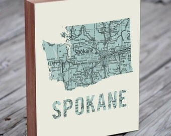 Spokane - Spokane Washington Art- Washington State Art - Washington State Map - Wood Block Wall Art Print