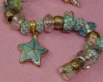 SALE Beach Theme Bracelet, European Style Bracelet, Starfish Charm, Gold and Silver Plated, Raised Beads, Pastel Colors, Mother's Day