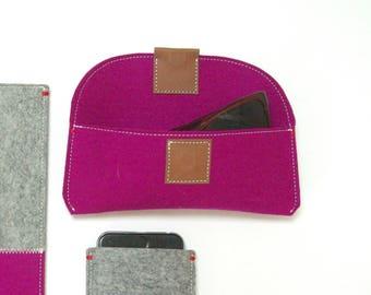 GLASSES CASE felt eyewear case pink - penholder - leather magnetic closure - spectacle case