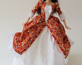 Historic Colonial Barbie dress: Red with Colorful Dots
