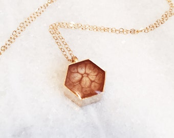 Honeycomb Resin Pendant Necklace - in Rose Gold