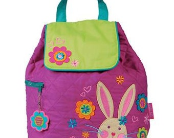 SHIPS NEXT DAY--Personalized Monogrammed --New Pattern Stephen Joseph Kid Quilted Purple Teal Bunny Rabbit  Backpack-Free Monogramming-