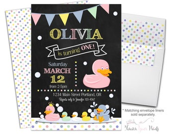 Rubber Duck Birthday Invitation - Rubber Duck Party Invitation - Duck Birthday Invite - Duck Party Invite - Girls 1st Birthday - Baby Girl