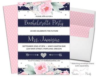 Bachelorette Party Invitation Printable or Printed - Floral Bachelorette Invite - Bridal Shower Invite - Printable Bachelorette Invite