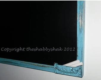 SPRING SALE Framed chalkboard, aqua blue Large chalkboard 17 x 23 / Shabby Chic Decor